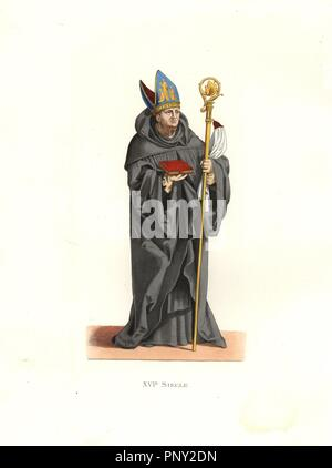 Benedictine abbot, 16th century, in black robes, carrying a bible and crook, wearing an embroidered mitre.. Handcolored illustration by E. Lechevallier-Chevignard, lithographed by A. Didier, L. Flameng, F. Laguillermie, from Georges Duplessis's 'Costumes historiques des XVIe, XVIIe et XVIIIe siecles' (Historical costumes of the 16th, 17th and 18th centuries), Paris 1867. The book was a continuation of the series on the costumes of the 12th to 15th centuries published by Camille Bonnard and Paul Mercuri from 1830. Georges Duplessis (1834-1899) was curator of the Prints department at the Bibliot - Stock Photo