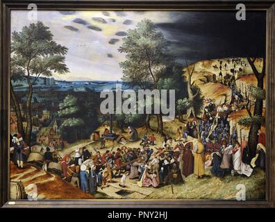 Pieter Brueghel the Younger (1564-1638). Flemish painter. The Procession to Calvary, 1602. National Museum of Art. Copenhagen. Denmark. - Stock Photo