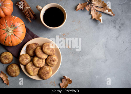 Pumpkin Snickerdoodle Cookies.  Seasonal Autumn Homemade Cookies, top view, copy space. Traditional desert Snickerdoodles for Autumn. - Stock Photo