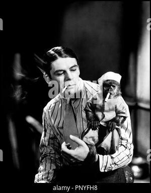 Prod DB © United Artists / DR  SCARFACE (SCARFACE / THE SHAME OF A NATION) de Howard Hawks 1932 USA  avec Paul Muni et Jocko the Monkey d'apres le roman de Armitage Trail scenario de Ben Hecht co-realise par Richard Rosson inspire de la jeunesse du gangster Al Capone portrait, balafre, cheveux gomines, ami des animaux, singe apprivoisé, mimétisme, fumer, cigarette - Stock Photo