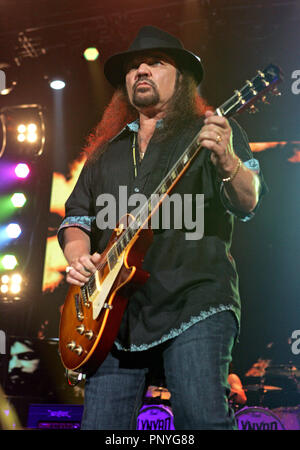 Gary Rossington with Lynyrd Skynyrd performs in concert at the Cruzan Amphitheater in West Palm Beach, Florida on June 10, 2010. - Stock Photo