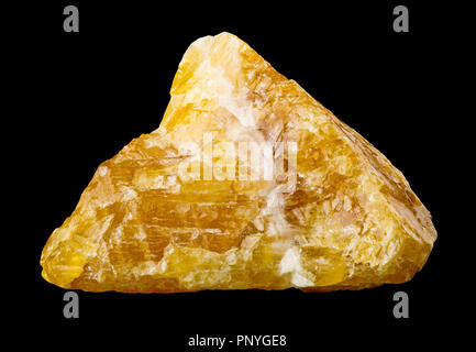 Raw, uncut yellow calcite (CaCO3) from Mexico isolated on black background - Stock Photo