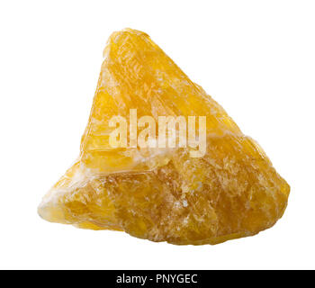 Raw, uncut yellow calcite (CaCO3) from Mexico isolated on white background - Stock Photo