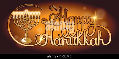 Vector Happy Hanukkah hand lettering. Festive poster, greeting card template with Menorah. - Stock Photo