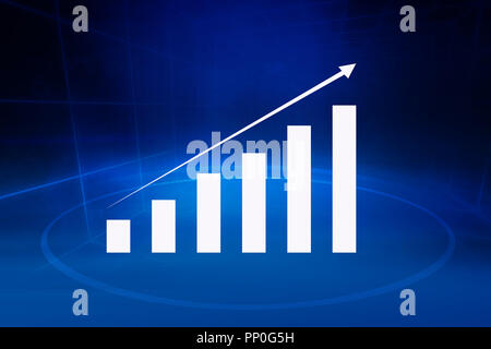 Financial growth graph in front of blue background, sales amaryllises and marketing results concept - Stock Photo