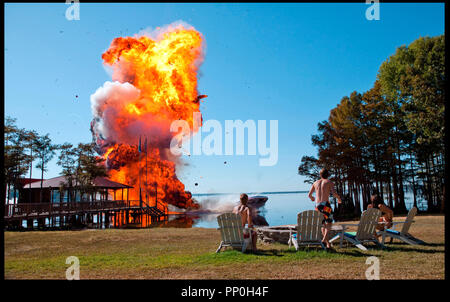 Prod DB © Incentive Filmed Entertainment - Next Films - Sierra Pictures / DR SHARK 3D (SHARK NIGHT 3D) de David R. Ellis 2011 USA explosion - Stock Photo