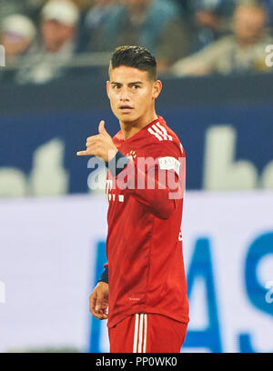 Gelsenkirchen, Germany. 22 September 2018.  James RODRIGUEZ, FCB 11   celebrates his goal with  0-1, hang loose sign   FC SCHALKE 04 - FC BAYERN MUNICH   - DFL REGULATIONS PROHIBIT ANY USE OF PHOTOGRAPHS as IMAGE SEQUENCES and/or QUASI-VIDEO -  1.German Soccer League , Gelsenkirchen, September 22, 2018,  Season 2018/2019, matchday 4 © Peter Schatz / Alamy Live News