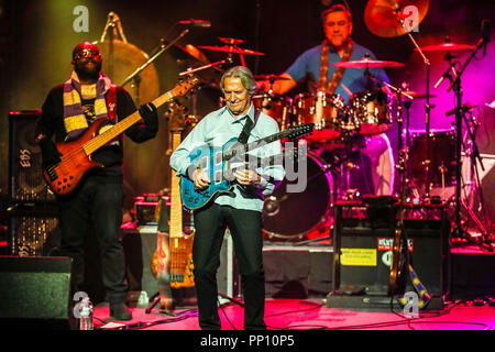 Durham, North Carolina, USA. 6th Dec, 2017. Music Artist JOHN MCLAUGHLIN performs in Durham, North Carolina as part of his 2017-18 Tour. John McLaughlin, also known as Mahavishnu John McLaughlin, is an English guitarist, bandleader and composer. His music includes many genres of jazz which he coupled with elements of rock, Indian classical music, Western classical music, flamenco and blues to become one of the pioneering figures in fusion. Credit: Andy Martin Jr./ZUMA Wire/Alamy Live News - Stock Photo