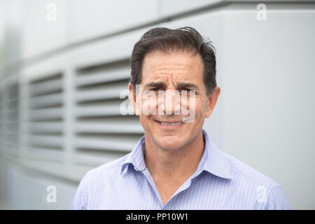 13 September 2018, Baden-Wuerttemberg, Ehningen: Bob Lord, Chief Digital Officer of International Business Machines Corporation (IBM), stands in front of the IBM Client Center. According to the top IBM digital strategist, computers and robots will not make autonomous decisions in the long term. Photo: Marijan Murat/dpa - Stock Photo