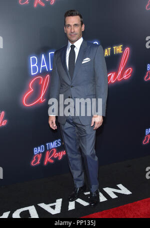 Hollywood, California, USA. 22nd Sep, 2018. Jon Hamm arrives for the premiere of the film 'Bad Times at the El Royale' at the Chinese theater. Credit: Lisa O'Connor/ZUMA Wire/Alamy Live News - Stock Photo