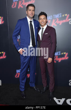 Hollywood, California, USA. 22nd Sep, 2018. Drew Goddard and Manny Jacinto arrives for the premiere of the film 'Bad Times at the El Royale' at the Chinese theater. Credit: Lisa O'Connor/ZUMA Wire/Alamy Live News - Stock Photo