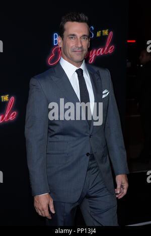 Hollywood, USA. 22nd Sep, 2018. Jon Hamm attends the premiere of 20th Century Fox's 'Bad Times at the El Royale' at TCL Chinese Theatre on September 22, 2018 in Hollywood, California. Credit: The Photo Access/Alamy Live News - Stock Photo
