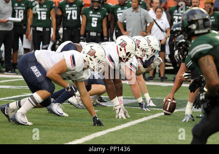 September 22, 2018 - The dukes defensive line during a game between the Hawaii Rainbow Warriors and the Duquesne Dukes at Aloha Stadium in Honolulu, HI - Michael Sullivan/CSM Credit: Cal Sport Media/Alamy Live News - Stock Photo