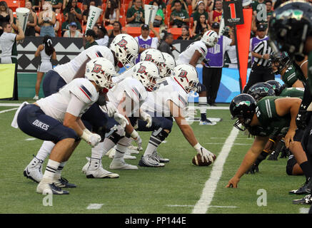 September 22, 2018 - The line of scrimmage during a game between the Hawaii Rainbow Warriors and the Duquesne Dukes at Aloha Stadium in Honolulu, HI - Michael Sullivan/CSM Credit: Cal Sport Media/Alamy Live News - Stock Photo