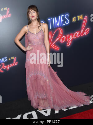 Hollywood, California, USA. 22nd Sep, 2018. DAKOTA JOHNSON arrives for the premiere of the film 'Bad Times at the El Royale' at the Chinese theater. Credit: Lisa O'Connor/ZUMA Wire/Alamy Live News - Stock Photo