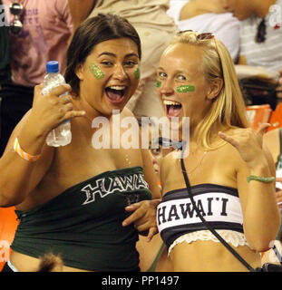 September 22, 2018 - Hawaii fans during a game between the Hawaii Rainbow Warriors and the Duquesne Dukes at Aloha Stadium in Honolulu, HI - Michael Sullivan/CSM Credit: Cal Sport Media/Alamy Live News - Stock Photo