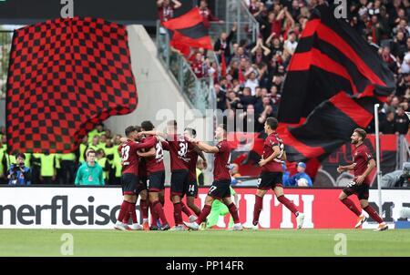 firo: 22.09.2018 Fuvuball, Football: 1.Bundesliga 1.FC Nvºrnberg - Hanover 96 2: 0, Nvºrnberg, whole figures, jubilation, | usage worldwide - Stock Photo