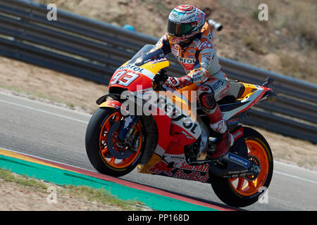 Aragon, Spain. 22 September 2018. Marc Marquez (Repsol Honda Team) in action during Gran Prix Movistar the Aragón. 22-09-2018 September 22, 2018. Credit: AFP7/ZUMA Wire/Alamy Live News - Stock Photo