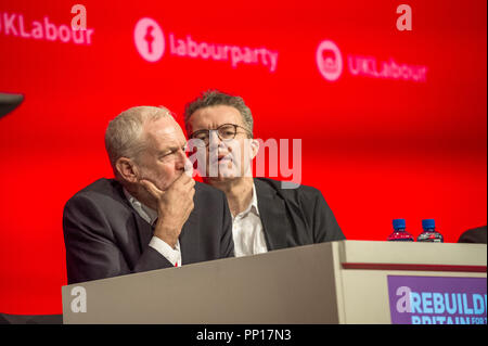 Liverpool, UK. 23 September 2018. Jeremy Corbyn Leader of the Labour Party and Tom Watson deputy leader on the stage at the Labour Party annual conference 2018 Alan Beastall/Alamy Live News - Stock Photo