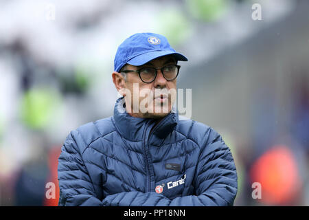 London Stadium, London, UK. 23rd Sep, 2018. EPL Premier League football, West Ham United versus Chelsea; Chelsea Manager Maurizio looks at the stands during pre match warm up from the touchline Credit: Action Plus Sports/Alamy Live News Stock Photo