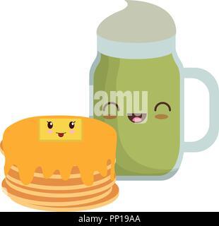 kawaii pancakes and milkshake over white background, vector illustration - Stock Photo