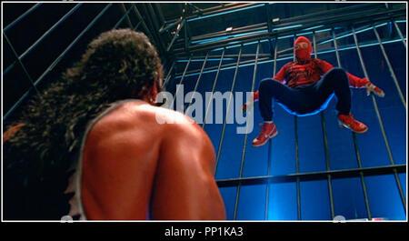 Prod DB © Columbia - Marvel / DR SPIDER-MAN (SPIDERMAN) de Sam Raimi 2002 USA avec Tobey Maguire super héros, costume, catch, cage d'après le comics de Stan Lee - Stock Photo