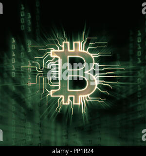 Bitcoin ₿ cryptocurrency, digital decentralized currency symbol, conceptual illustration of a bitcoin connected to a blockchain network in green matri - Stock Photo