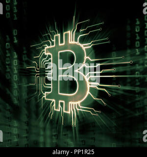 Bitcoin ₿ cryptocurrency, digital decentralized currency symbol, conceptual illustration of a bitcoin logo connected to a blockchain network bit matri - Stock Photo