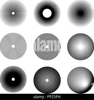 Set of sound wave ring icons. Design element for logo, label, emblem, sign, badge. Vector image - Stock Photo