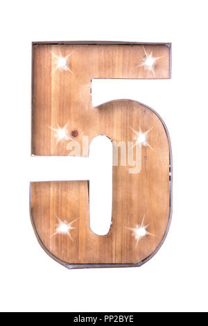 Handmade Tin and Wooden Number Five Sign with lights on a white background - Stock Photo