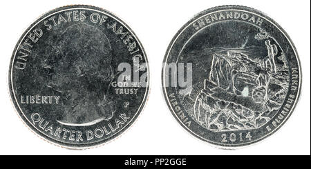 United States Coin. Quarter Dollar 2014 P. Shenandoah National Park. - Stock Photo