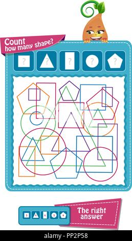 educational game for children to attention. Task game count how many geometric shapes - Stock Photo