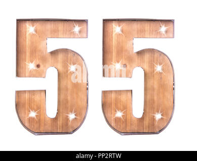 Handmade Tin and Wooden Number Fifty Five Sign with lights on a white background - Stock Photo