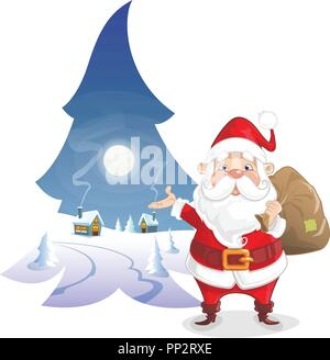 Christmas illustration - Winter moonlight in form of pine with cute Santa Claus - Stock Photo