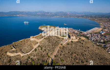 Aerial view of Palamidi fortress in Nafplio - Stock Photo
