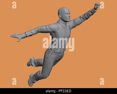 Vector illustration of a flying man. Polygon. Monument. Businessman makes a breakthrough. - Stock Photo