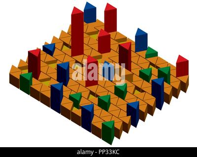 Vector illustration infographic with prisms. Rise and Fall, stability. Isometric. Isolated. EPS 8. - Stock Photo