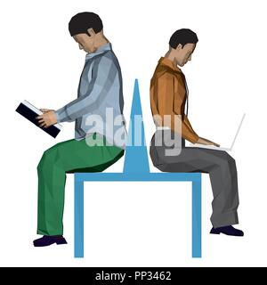 Vector illustration of two men sitting on the bench. One is reading a book and the other works with a laptop. 3D. - Stock Photo