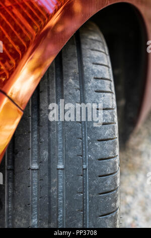 the tire tread of a car - Stock Photo