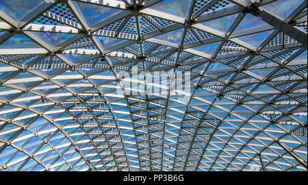 Triangular pattern of transparent glass modern roof - Stock Photo