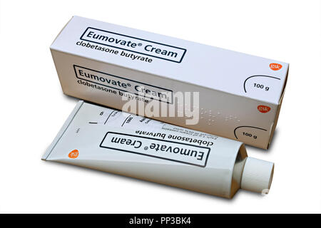 Tube and box of Eumovate ( clobetasone butyrate ) anti-inflammatory topical corticosteroid steroid cream prescribed for eczema and dermatitis - Stock Photo