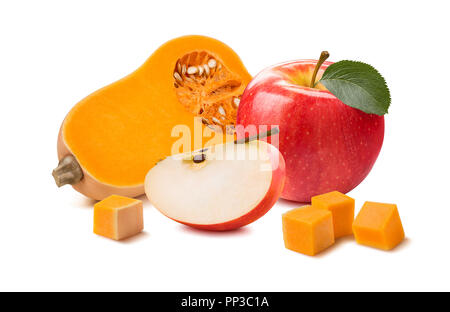 Butternut pumpkin apple pieces isolated on white background as package design element - Stock Photo