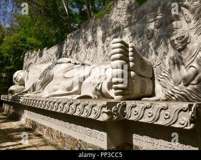 Vietnam, Nha Trang - January 3, 2016: Sleeping Buddha at the Long Son Pagoda - Stock Photo