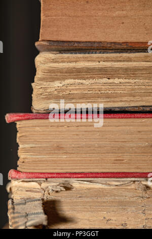 Old books - Pages, binding, gildings. Backgrounds and textures, vintage and ancient knowledge resources. - Stock Photo