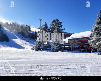 Groomed snow of alpine skiing trails at Saint-Sauveur, Quebec - Stock Photo