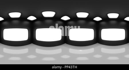 HDRI map, spherical environment panorama background in shades of black and white, light source render - abstract room (3d equirectangular rendering) - Stock Photo