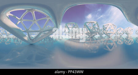 abstract HDRI environment map, spherical panorama background, light source rendering with icosahedron objects and sky (3d equirectangular render) - Stock Photo