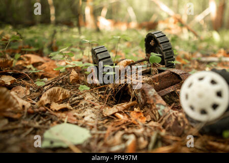An old, abandoned toy left in the forest. Rusty, children's typewriter in the autumn foliage. Sunlight. A rough plan. - Stock Photo