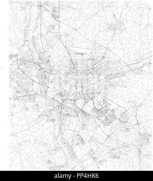 Nuremberg map, satellite view, black and white map. Street directory and city map. Germany - Stock Photo