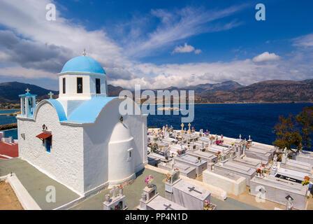 Greece, Aegean Islands, Karpathos island,  cemetery on the height of the city of Pigadia - Stock Photo